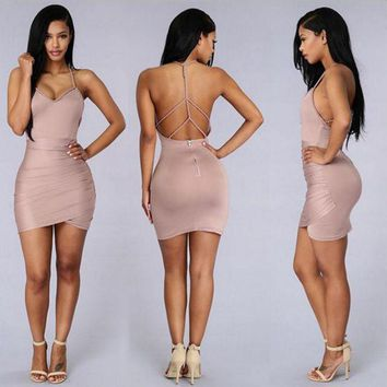 CREYIH3 New fashion pink halter dress