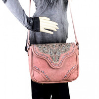 Embroidered Collection Crossbody Bag In Pink