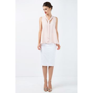 White High Waist Cotton Fitted Skirt