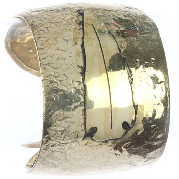Gold Arrowhead Textured Metal Cuff Bracelet