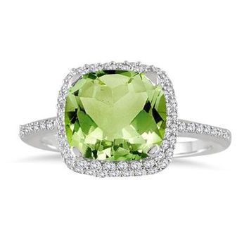 3.50 Carat Cushion Cut Peridot and Diamond Halo Ring in 10K White Gold