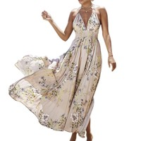 Deep V Neck Boho Floral Print Dress Women Beach Off Shoulder Sexy Backless Maxi Long Dresses