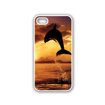 Tropical Sunset with Dolphin iPhone 5 White Case - For iPhone 5/5G White - Designer TPU Case Verizon AT&T Sprint