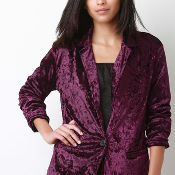 Crushed Velvet Single Button Pocket Blazer | UrbanOG