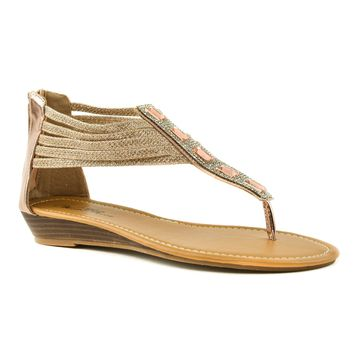Eden43 Gold Pu By Wild Rose, Glitter Strappy Gladiator Gem Boho Wedge Thong Sandal