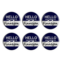 Finnegan Hello My Name Is Plastic Resin Button Set of 6