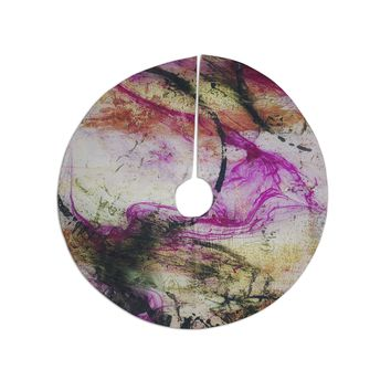 "Malia Shields ""Abstracted Circles Series 3/3"" Magenta Black Painting Christmas Tree Skirt"