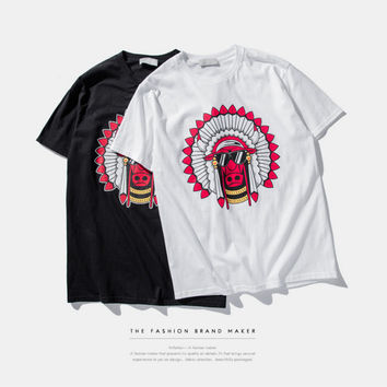 Bull with Indian Chief Hat Print T-Shirt