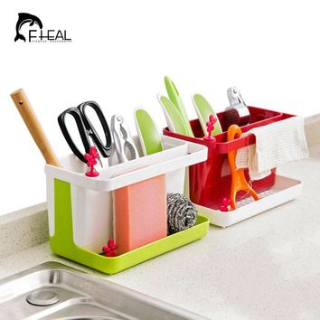 FHEAL Kitchen Draining Storage Rack Sink Sponge Cleaning Brush Towel Holder Utensils Storage Shelf Bathroom Organizer Rack