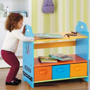 Giantex 2 Tiers Crayon Themed Bookshelf Toddler