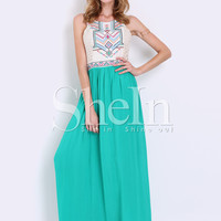 Green Sleeveless Tribal Embroidered Color Block Maxi Dress -SheIn(Sheinside)