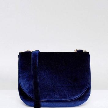 Monki Velvet Saddle Cross Body Bag at asos.com