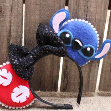 Lilo & Stitch-Inspired Mouse Ear Headband Bow