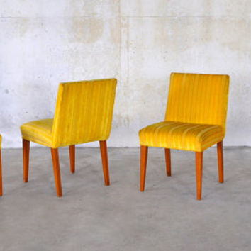 1960s Set of Four Mid-Century Danish Modern Dining Chairs 1950s Vintage Retro Yellow Velvet  Funky Jens Risom Style