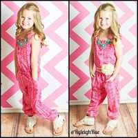 Girls Printed Cinched Waist Jumpsuit Pink/White