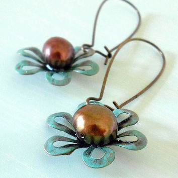GIFT of NATURE Freshwater Pearls Patina Flower Earrings in Antique Brass and Chocolate Brown from Dryad Dreams