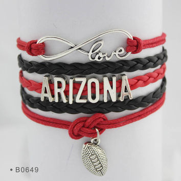Infinity Love Football Bracelet - Arizona Football