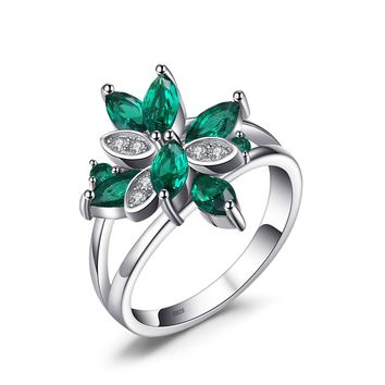 Jewelry Palace Flower Shape 1.3ct Nano Russian Simulated Emerald Cocktail Ring 925 Sterling Silver