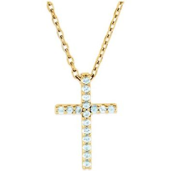 14K Yellow Gold Aquamarine 16-Inch Chain Cross Pendant Necklace