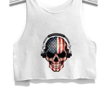ICIK7H3 Dj Skull With American Flag Womens Crop Tank Top