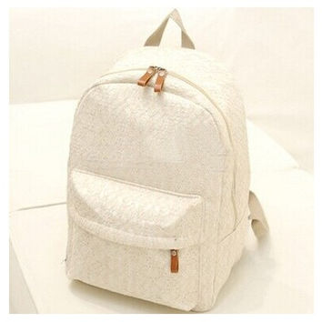 New Sweet Canvas Lace Backpack Womens Schoolbag Campus Book Bag HOT Sale White and black [8081832007]