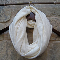 Ivory Sweater Knit Scarf Neutral Snood Soft and Cozy Chevron Pattern Endless Loop Infinity Circle Scarf Versatile Womens Teen Accessory