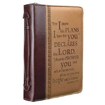 I Know the Plans Two-tone Bible / Book Cover - Jeremiah 29:11 (Large), Brand New