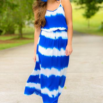 Everything Is Easy Blue Tie-Dye Maxi Dress