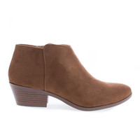 Mug by Soda, Cognac Suede Women's Western Ankle Bootie w Low Chunky Block Stacked Heel