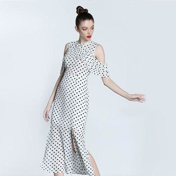 ICIKON3 white black polka dot dress cold shoulder mermaid slip up dress midi runway designer high quality elegant formal dress