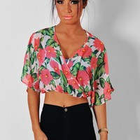 Anastasia Multicolour Floral Wrap Crop Blouse | Pink Boutique