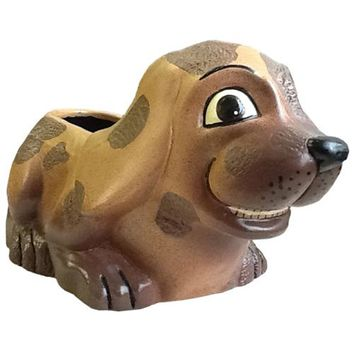 Brown Ceramic Dog Planter from Bolivia