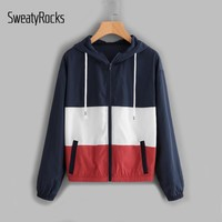 SweatyRocks Cut And Sew Patchwork Hooded Windbreaker Jacket Ladies Color Block Sporting Jacket  Autumn Casual Exercise Jacket