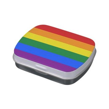 Funny candy tins with LGBT Rainbow Flag