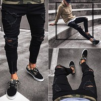 Men's Fashion Skinny Pants Black Ripped Holes Stretch Zippers Fashion Jeans [454561824797]