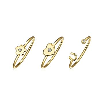 CZ 14K Gold Plated Sterling Knuckle Flower Heart Horseshoe Ring Set
