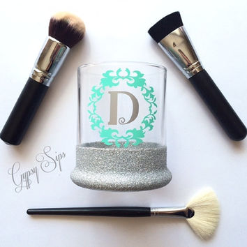 Initial // Glitter Dipped Makeup Brush Holder