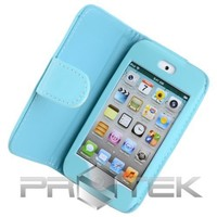 Teal Blue Leather Folio Folding Case Cover with Screen Protector Films for Apple iPod Touch 4th Gen Generation 4G 8GB 32GB 64GB