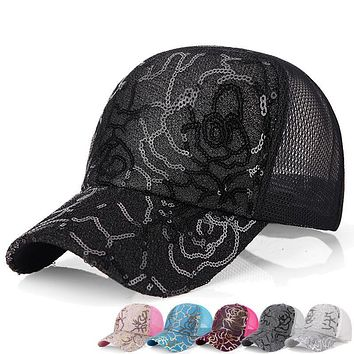 Womens Sequins Flashes 5 Panel Trucker Cap Hip Hop Sun Breathable Mesh Hat Summer Baseball Hats For Women Gorras