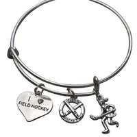 Girls Field Hockey Bangle Bracelet