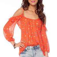Florette Ruffle Top in Red Orange :: tobi