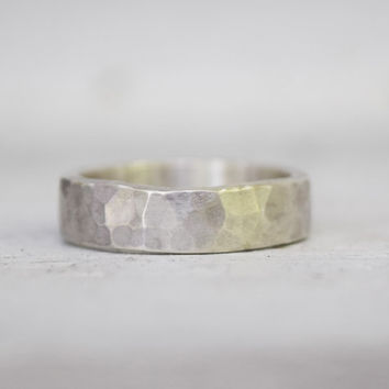 Sterling Silver Wedding Band - Mens Womens Ring - Hand Forged Metalwork  - Mens Wedding Ring - Rustic Hammered Ring