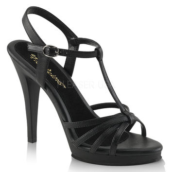 Fabulicious Matte Black Strappy Flair Sandal