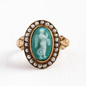 Antique Cameo Ring - 14k Rose Gold Hardstone Angel Cherub Seed Pearl Cluster - Size 6 Victorian Green & White Agate Carved Fine Jewelry