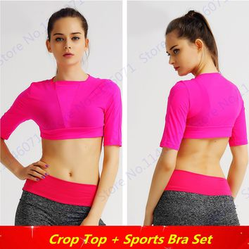 Rose Red Running Yoga Fitness Tee Shirts Pink Peach Half-Sleeves Sports Running Shirt Tops Crop Sexy Cut Out Dance Blouses Women