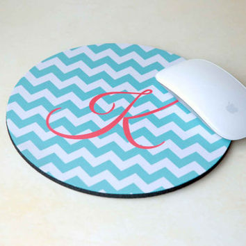 Initial Monogram Mousepad, Custom Mousepad, Personalized Mousepad, Computer Mouse Pad, Chevron Mouse Pad, Round Mouse Pad