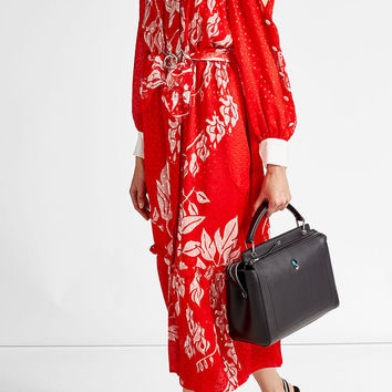 Floral Print Cold Shoulder Dress with Fil Coupé Silk - Fendi | WOMEN | US STYLEBOP.com
