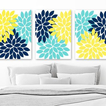 Navy Blue Yellow Aqua Bedroom Wall Decor, Yellow Navy Blue Flower Wall Art Canvas or Prints Flower Bathroom Decor, Flower Petals, Set of 3