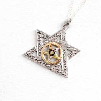 Vintage Art Deco Sterling Silver & 10k Rose Gold Order of Eastern Star Necklace - OES Masonic 1930s Marcasite Enamel Pendant Jewelry