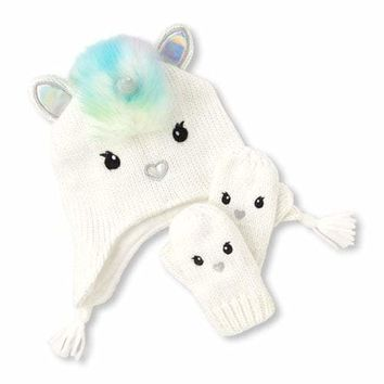 Toddler Girls Rainbow Faux Fur Unicorn Hat And Mittens Set
